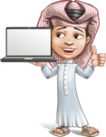 Little Muslim Boy Cartoon Vector Character AKA Nabil - Laptop 2