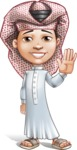 Little Muslim Boy Cartoon Vector Character AKA Nabil - Wave