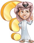 Little Muslim Boy Cartoon Vector Character AKA Nabil - Question