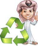 Little Muslim Boy Cartoon Vector Character AKA Nabil - Recicling