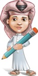 Little Muslim Boy Cartoon Vector Character AKA Nabil - Pencil
