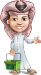 Little Muslim Boy Cartoon Vector Character AKA Nabil - Basket