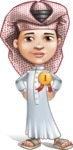 Little Muslim Boy Cartoon Vector Character AKA Nabil - Badge