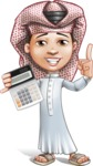 Little Muslim Boy Cartoon Vector Character AKA Nabil - Calculate