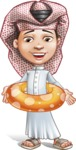 Little Muslim Boy Cartoon Vector Character AKA Nabil - Swimming Belt