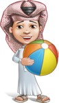 Little Muslim Boy Cartoon Vector Character AKA Nabil - Beach Ball