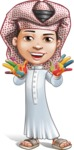 Little Muslim Boy Cartoon Vector Character AKA Nabil - Color Hands