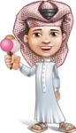 Little Muslim Boy Cartoon Vector Character AKA Nabil - Ice Cream