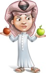 Little Muslim Boy Cartoon Vector Character AKA Nabil - Apples