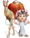 Little Muslim Boy Cartoon Vector Character AKA Nabil - Camel
