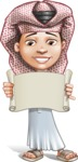 Little Muslim Boy Cartoon Vector Character AKA Nabil - Sign 3