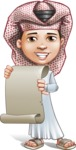Little Muslim Boy Cartoon Vector Character AKA Nabil - Sign 5