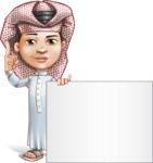 Little Muslim Boy Cartoon Vector Character AKA Nabil - Sign 6