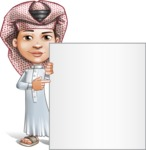 Little Muslim Boy Cartoon Vector Character AKA Nabil - Sign 7