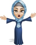 Young Islamic Women Cartoon Vector Character AKA Jumanah - Shocked