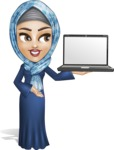 Young Islamic Women Cartoon Vector Character AKA Jumanah - Laptop 1