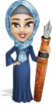 Young Islamic Women Cartoon Vector Character AKA Jumanah - Pen