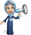 Young Islamic Women Cartoon Vector Character AKA Jumanah - Megaphone
