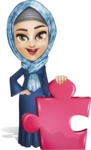Young Islamic Women Cartoon Vector Character AKA Jumanah - Puzzle