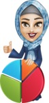 Young Islamic Women Cartoon Vector Character AKA Jumanah - Chart