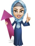 Young Islamic Women Cartoon Vector Character AKA Jumanah - Arrow 1