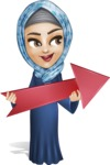 Young Islamic Women Cartoon Vector Character AKA Jumanah - Arrow 2