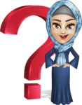 Young Islamic Women Cartoon Vector Character AKA Jumanah - Question