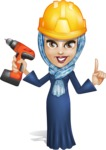 Young Islamic Women Cartoon Vector Character AKA Jumanah - Under Construction 2