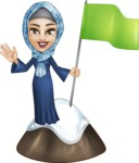 Young Islamic Women Cartoon Vector Character AKA Jumanah - On the Top