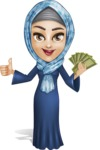 Young Islamic Women Cartoon Vector Character AKA Jumanah - Money