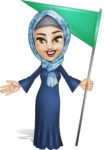 Young Islamic Women Cartoon Vector Character AKA Jumanah - Flag