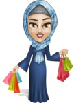 Young Islamic Women Cartoon Vector Character AKA Jumanah - Shopping