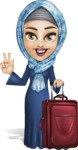 Young Islamic Women Cartoon Vector Character AKA Jumanah - Traveling