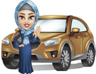 Young Islamic Women Cartoon Vector Character AKA Jumanah - Car