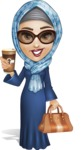 Young Islamic Women Cartoon Vector Character AKA Jumanah - Coffee to-go