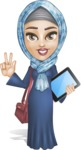 Young Islamic Women Cartoon Vector Character AKA Jumanah - On Walking