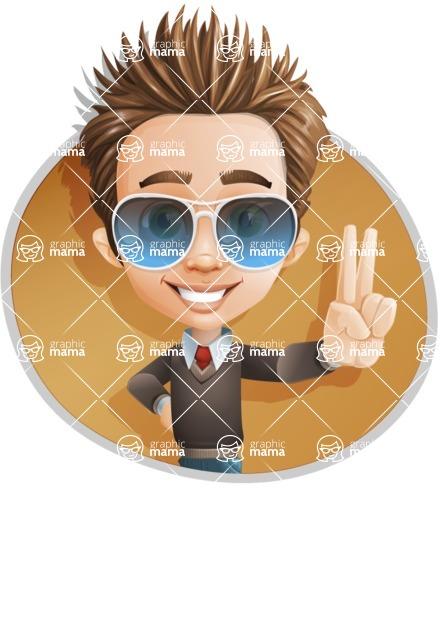 Cute Smart Boy Cartoon Vector Character AKA Zack the Crafty - Shape4