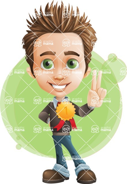 school boy vector cartoon character set of poses - Zack the Crafty - Shape7