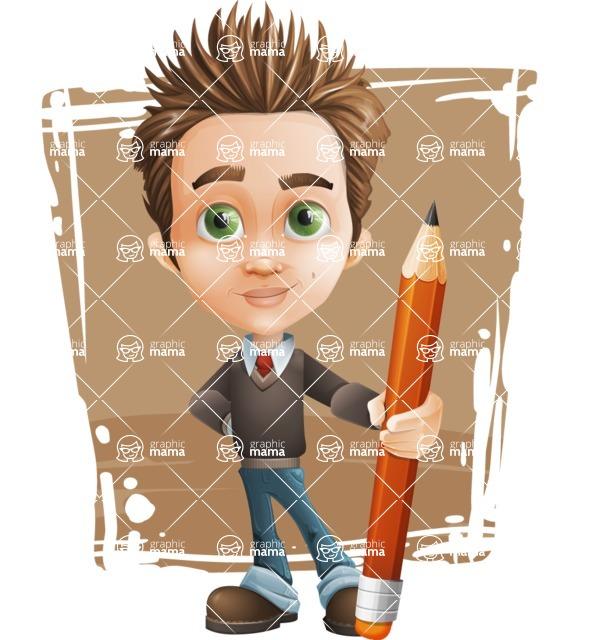 school boy vector cartoon character set of poses - Zack the Crafty - Shape11