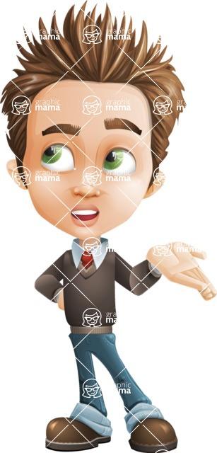 school boy vector cartoon character set of poses - Zack the Crafty - Roll Eyes