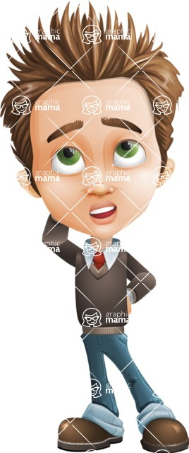 Cute Smart Boy Cartoon Vector Character AKA Zack the Crafty - Confused