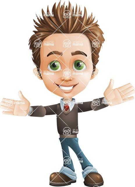 Cute Smart Boy Cartoon Vector Character AKA Zack the Crafty - Hello
