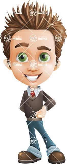 school boy vector cartoon character set of poses - Zack the Crafty - Patient