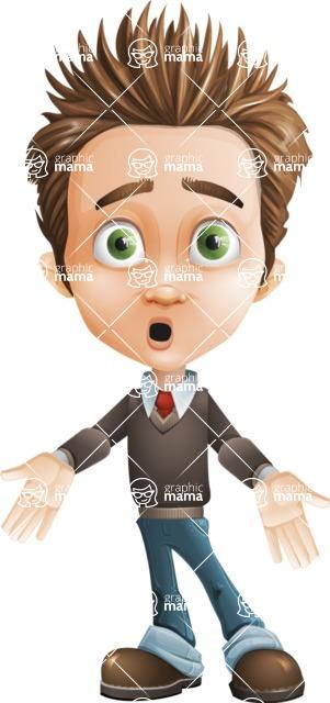 school boy vector cartoon character set of poses - Zack the Crafty - Blank