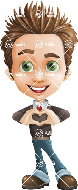 school boy vector cartoon character set of poses - Zack the Crafty - Show Love