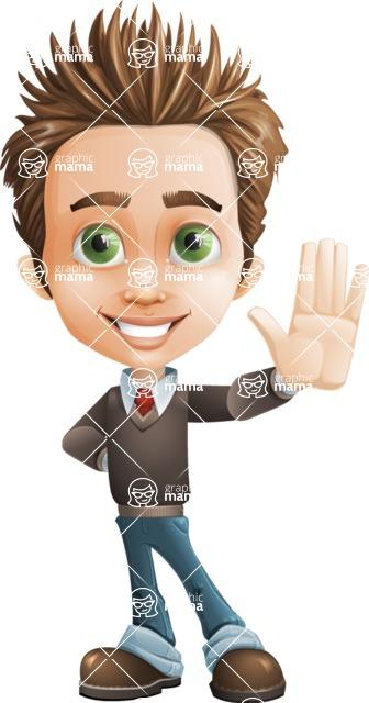 Cute Smart Boy Cartoon Vector Character AKA Zack the Crafty - Wave