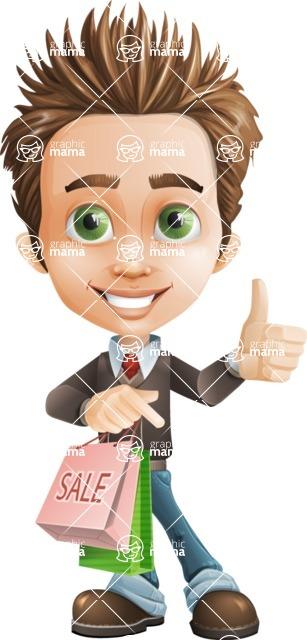 school boy vector cartoon character set of poses - Zack the Crafty - Sale2