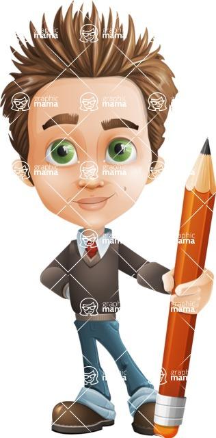 school boy vector cartoon character set of poses - Zack the Crafty - Pencil