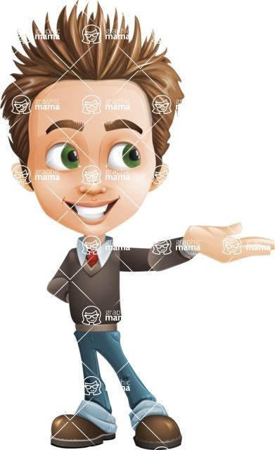 school boy vector cartoon character set of poses - Zack the Crafty - Showcase