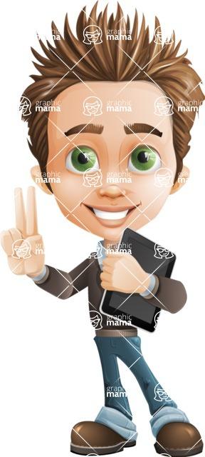 Cute Smart Boy Cartoon Vector Character AKA Zack the Crafty - iPad1